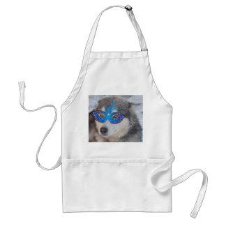 För blåttögon för förklädet maskerar Husky blått Förkläde
