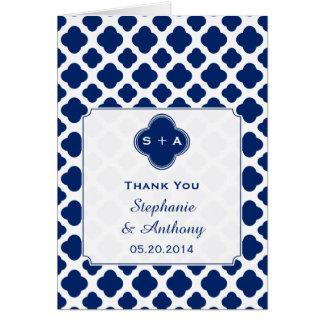 För blåttQuatrefoil för Monogram kungligt tack Hälsningskort