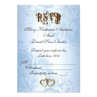 För blåttsatäng för OSA elegantt bröllop 12,7 X 17,8 Cm Inbjudningskort