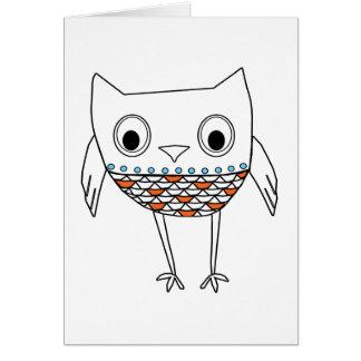För blåttsvart för nyckfull uggla orange varelser hälsningskort
