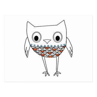 För blåttsvart för nyckfull uggla orange varelser vykort
