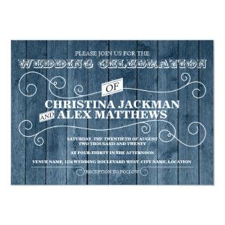För blåttträ för land lantlig vintage bröllop 12,7 x 17,8 cm inbjudningskort