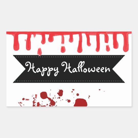 För blodSplatter för happy halloween genomblöta Rektangulärt Klistermärke