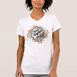 För blom- lantlig chic häst kranhästar för vintage tee shirts