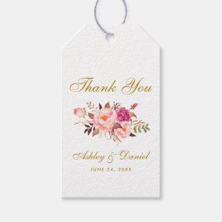 För blom- tack för bröllop rosarodnad för presentetikett