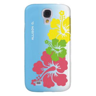 För blommablommar för hibiskus tropisk hawaiibo galaxy s4 fodral