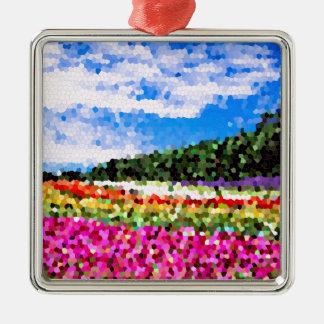 För blommafält för målat glass färgrik Bluesky Julgransprydnad Metall