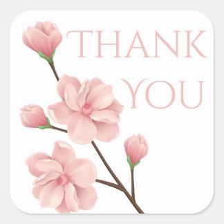 För blommarblomma för blom- tack rosa körsbärsrött fyrkantigt klistermärke