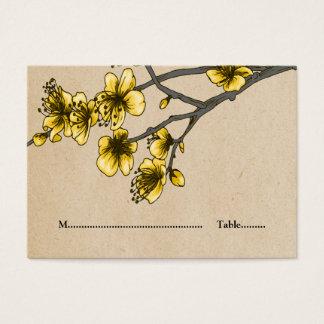 För blommarställe för gul vintage körsbärsröda visitkort