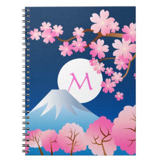 För blommarvår för Mt Fuji körsbärsröd Japan natt Anteckningsbok Med Spiral