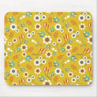 För blommigtblommor för vintage senapsgult mönster mus mattor
