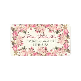 För blommigtpersonlig för vintage rosa adressetikett
