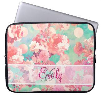 För blommönsterkricka för Monogram rosa Retro Laptop Sleeve