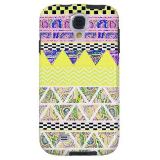 För Boho för citron & för lila skraj mönster stam- Galaxy S4 Fodral
