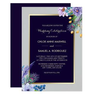 För Boho för guld- ramblått inbjudan blom- bröllop
