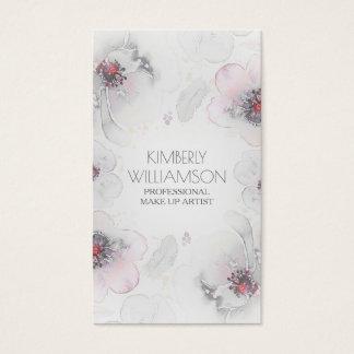 För Boho för rosa vattenfärg för grå färg blom- Visitkort