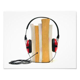 för bokaudio för audiobook hörlurar läst fototryck