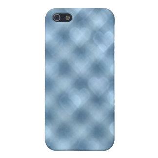 För Bokeh för blått rutig iphone case hjärtor iPhone 5 Cover