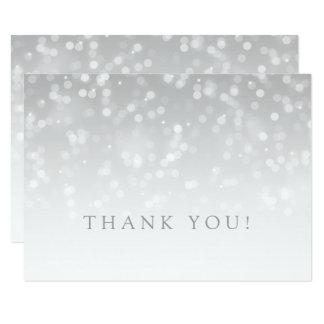 För Bokeh för brölloptackkortsilver ljus gnistra 11,4 X 15,9 Cm Inbjudningskort