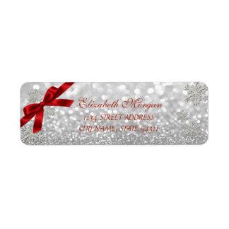 För Bokeh för elegant jul Glittery etikett Returadress Etikett