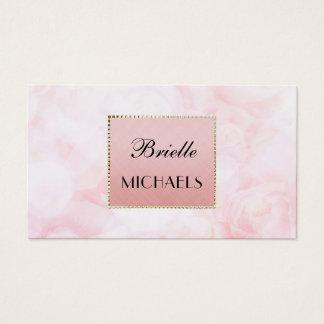 För Bokeh för eterisk rosa ros ram elegant guld- Visitkort