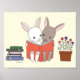 För boktryck för gullig kanin läs- affisch för