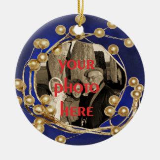 För bollram för blått guld- prydnad för foto rund julgransprydnad i keramik