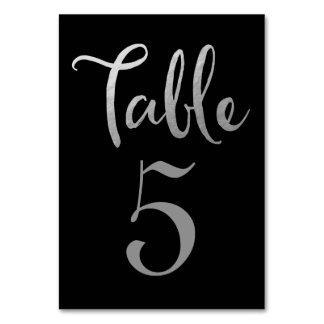 För bordsnummertypografi för silver svart gifta bordsnummer