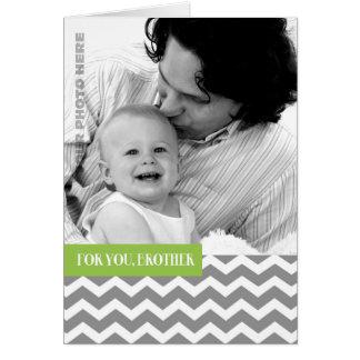 För broder på beställnings- fotokort för fars dag hälsningskort
