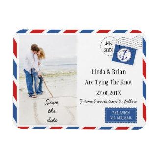 För bröllop spara datum kuvertmagnet flygpost magnet