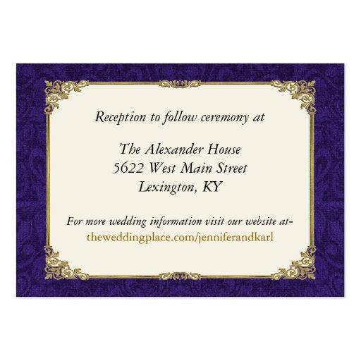 För bröllopbilaga för lilor & för vintage guld- ko visitkort mall