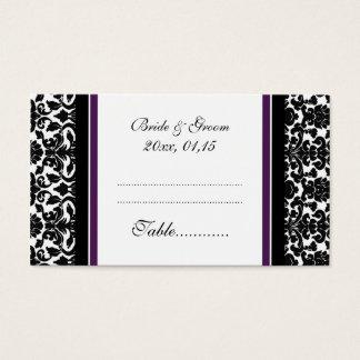 För bröllopbord för plommon damastast kort för