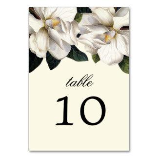 För bröllopbord för sydlig Magnolia botaniska kort