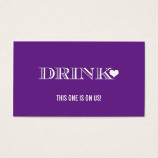 För bröllopdrink för gullig hjärta purpurfärgad visitkort