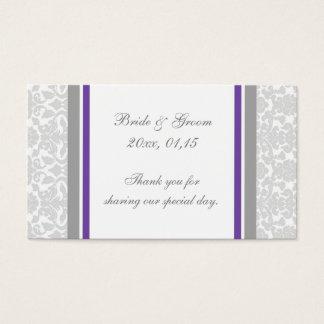 För bröllopfavör för grå plommon damastast märkre visitkort