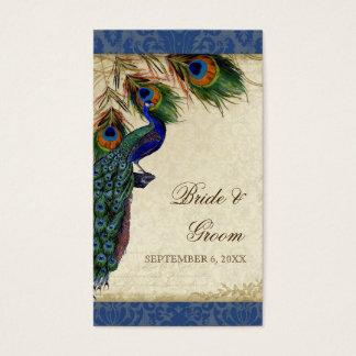 För bröllopfavör för påfågel & för fjädrar visitkort