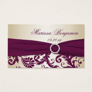 För bröllopfavör för plommon och för champagne visitkort