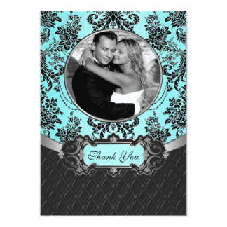 För bröllopfoto för blått damastast kort för tack 12,7 x 17,8 cm inbjudningskort