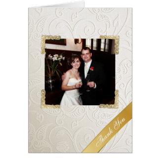 För bröllopfoto för elegantt elfenben damastast OBS kort