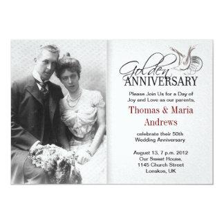 för bröllopfoto för guld- årsdag gammala 12,7 x 17,8 cm inbjudningskort