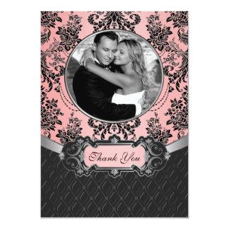 För bröllopfoto för rosor & för svart damastast 12,7 x 17,8 cm inbjudningskort
