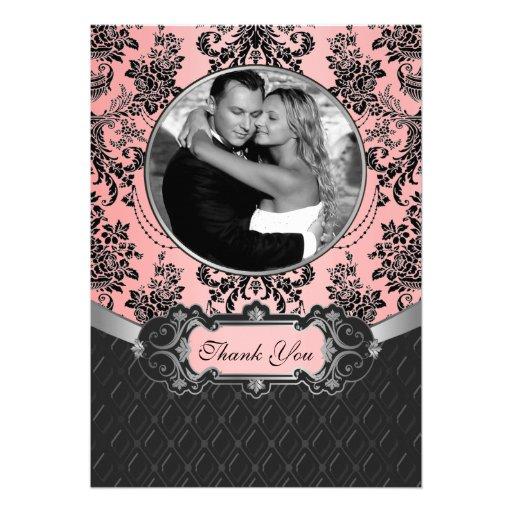 För bröllopfoto för rosor & för svart damastast ko skräddarsydda inbjudan