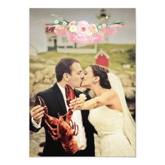 För bröllopfoto för vattenfärg blom- kort för tack 12,7 x 17,8 cm inbjudningskort