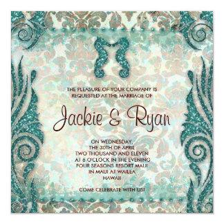 För bröllopinbjudan för 232 strand kricka för fyrkantigt 13,3 cm inbjudningskort