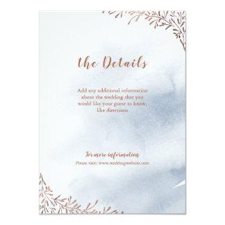 För bröllopmellanlägg för dammiga blått blom- 11,4 x 15,9 cm inbjudningskort