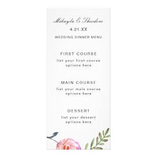 För bröllopmeny för vattenfärg blom- kort