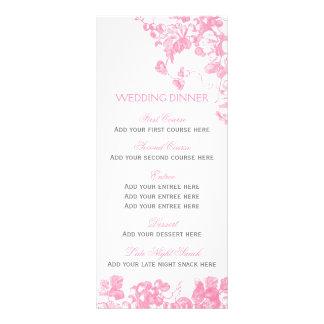 För bröllopmiddag för rosa grå färg blom- reklamkort