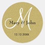 För bröllopMonogram för glitter guld- sälar Rund Klistermärke