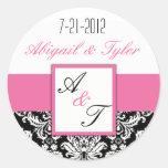 För bröllopMonogram för rosor svart klistermärke