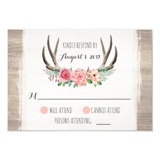 För brölloppersonlig för blom- horn på kronhjort 8,9 x 12,7 cm inbjudningskort